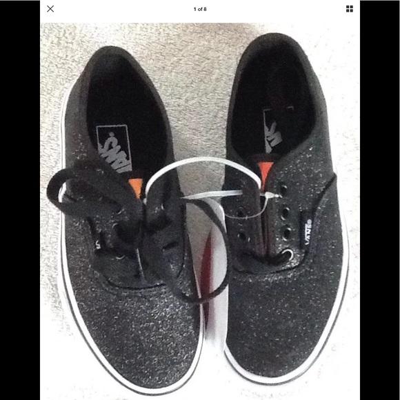 25851380d9d367 Vans Authentic Girls black glitter shoes NWB